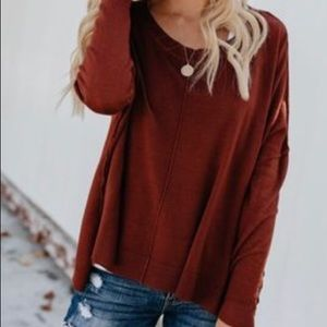 Ryleigh Cashmere Blend Sweater in Rust